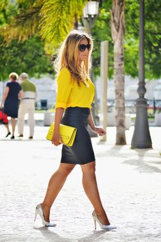 outfit yellow shirt ~ outfit yellow shirt ` outfit yellow shirt blouses ` outfit yellow shirt and jeans Fall Fashion Outfits, Casual Fall Outfits, Mode Outfits, Work Fashion, Skirt Outfits, Classy Outfits, Sexy Outfits, Chic Outfits, Womens Fashion