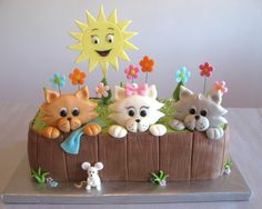 2010 Animal Cakes Contest This site has lots of awesome cakes Kitten Cake, Kitten Party, Cat Party, Pretty Cakes, Cute Cakes, Awesome Cakes, Fondant Cakes, Cupcake Cakes, Bolo Sofia
