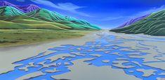 Waimakariri River, New Zealand by Rae Eder Graphic Illustration, Illustrations, Nz Art, Landscape Art, Kiwi, New Zealand, Golf Courses, Icons, Graphics