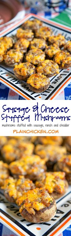 Sausage and Cheese Stuffed Mushrooms recipe - mushroom caps stuffed with sausage, cheese, ranch and red pepper - can make sausage mixture ahead of time and stuff mushrooms when ready to bake. Took these to a party and they were gone in a flash! #ad #sk