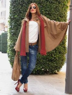 Sunny autumn day  Love those capes. Red and cognac combination