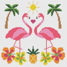 Get to the beach with this modern flamingo illustration cross stitch pattern which is perfect for summer and great for a beginner. The bright and colourful design is so much fun to stitch and would make a great summer project for kids on rainy days. This listing is for an instant