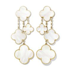 Magic Alhambra earrings, 4 motifs, yellow gold, white mother-of-pearl