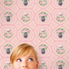 Hearts and Skulls Removable WallPaper is reusable peel and stick. It is the easiest and quickest way to decorate a teen's room or college dorm.