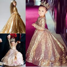 Gold Sequin Toddler Ball Gowns Girls Pageant Dresses Jewel Long Sleeves 2018 Formal Kids Party Gown Flower Girl Dresses For Weddings Toddler Dresses For Wedding Used Pageant Dresses For Sale From One Stopos, $90.32  Dhgate.Com