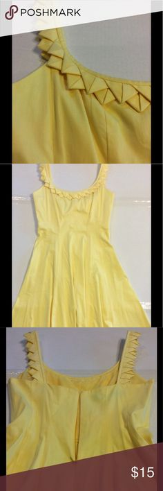 "Nine West Yellow Dress Sunny, beautifully detailed straps, 97% cotton, 3% spandex, concealed back zip and hook closure, 29.5"" neckline to hem, lined from neckline to waist, 15"" across chest, 36"" from shoulder to hem. Faint pencil marks on bottom, back of dress-see last pic. Underarm to hem 28.5"" The refreshing fit and flare silhouette of this dress will give your style a compliment-worthy update. Hits at knee. Scoop neck, a-Line silhouette. Nine West Dresses"