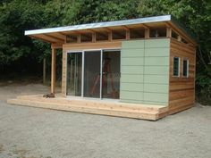 A beautiful 12' x 16' Coastal Modern-Shed designed as a home office on Vashon Island in Washington State.