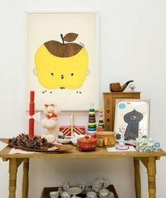 apple1, fine litle day, plakat, poster, kids, children, room, brugskunst, interiør, legetøj, figurer, børn, børneværelset, indretning, boligindretning, design, boligcious