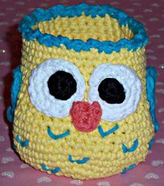 Crochet Owl Basket  Yellow with Turquoise by SunniesToo on Etsy, $12.00
