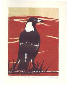 Original Linocut of the Australian Magpie by LauraCastellArt