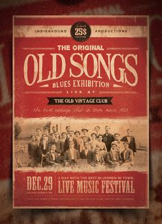 """""""The Original Old Songs Blues Experience"""" – This flyer was designed to promote a Blues / Classic Rock / Bluegrass / Classical / Folk music event, such as a gig, concert, festival, party or weekly event in a music club and other kind of special evenings. This poster can also be used for a band's new album promotion and other advertising purposes."""