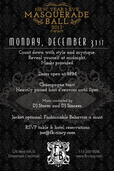FB's New Year's Eve Masquerade Ball 2013