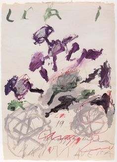 artspotting:    Cy Twombly, Liri, 1990, oil stick, pencil, color pencil  - 50 years of works on papers, Munich,  St. Petersburg 2003