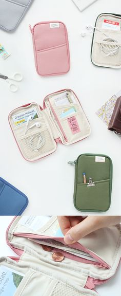 Wow!! How can a pouch be so functional AND simple? This cute A Low Hill Multi Pouch is a must have for travlers, students, and business people with its endless pockets and compartments. There are a total of 6 open, mesh, and zippered pockets inside and outside the main compartment. You can fit your cash, coins, pens  pencils, first aid kit, planner  craft supplies, and much more! It's also great to store your passport, boarding pass, and other travel necessities. Check it out  get orga...