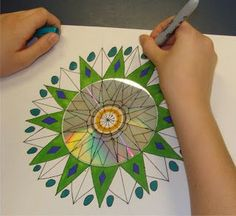mrspicasso's art room: mandalas for 6th graders.  CD and extended out on paper