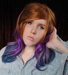 SALE // PERIWINKLE DREAM wig // Hipster Scene - Ombre Dip Dye Tie Dye Purple Blue Brown Hair // Wavy wig