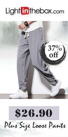 3022b87b807 Men s Chinoiserie Plus Size Linen Harem   Loose   Sweatpants Pants - Solid  Colored Navy Blue