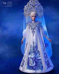 Yes it's a doll & it's kinda fantasy but it's pretty! Ooak Dolls, Barbie Dolls, Headdress, Headpiece, Culture Russe, Dress Dior, Manequin, Snow Maiden, Russian Folk