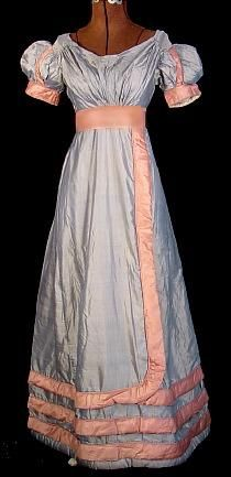 "1820's RARE Sky Blue Silk Ballgown with Coral Silk Rouleau Trim! ""Please note, the sash is just a new pink ribbon for show, and doesn't come with the gown."" So beautiful!"