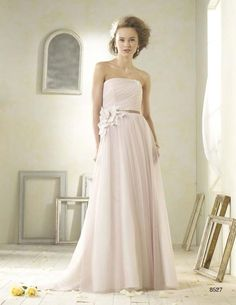 The Modern Vintage collection from Alfred Angelo. Soft, floral, pink. Tried this on in all white. Really liked it but looking back on pictures, do not like the side flower and the bottom looks too heavy/wide. Also would prefer sweetheart neckline.