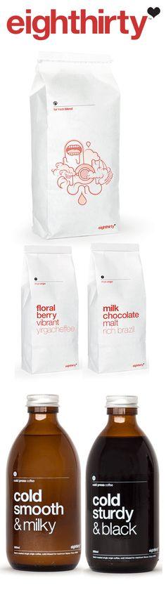 eighthirty Coffee packaging, bottles and branding.