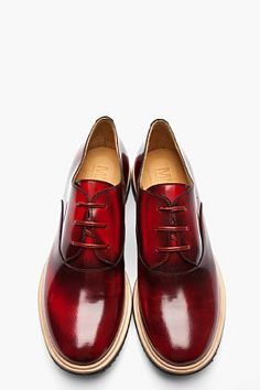 MM6 MAISON MARTIN MARGIELA Red Faded Waxed Leather Derby Flats
