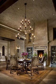 Im Also Loving The Vaulted Stone Traditional Dining RoomsContemporary