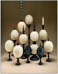 Mounted ostrich eggs from ruzzetti and gow