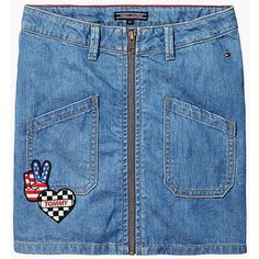 Badge Adorned Denim Skirt TOMMY HILFIGER ($62) ❤ liked on Polyvore featuring skirts, blue checkered skirt, checkerboard skirt, knee length denim skirt, checkered skirt and checked skirt