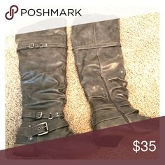 Over the knee boots wide calf Over the knee gray boots. Brand new never been worn! Make offer :) Shoes Over the Knee Boots