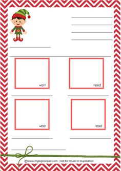 Free Santa Wishlist template based on the Want, Need, Wear, Read guide to gift giving #ElfOnTheShelf