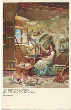 An anonymously illustrated chromolithograph postcard of Cinderella by the Brothers Grimm.  Published by Ottmar Zieher, Munich.  Circa 1899.