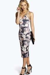 Dina Floral Strappy Bodycon Midi Dress alternative image