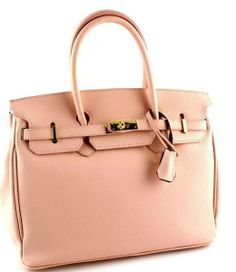 Authentic Etasico Handbag Italian Leather Padlock  Designer Pink Tote Bag.