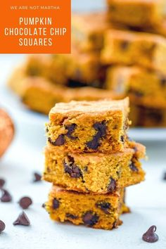These Pumpkin Chocolate Chip Squares will quickly become your go-to fall dessert for all occasions! | wearenotmartha.com #pumpkindesserts #pumpkinrecipes #pumpkinbars #pumpkinsquares Desserts With Chocolate Chips, Chocolate Chip Ice Cream, Chocolate Chip Cake, Pumpkin Chocolate Chips, Chocolate Chip Muffins, Chocolate Recipes, Chocolate Chip Cookies, Pumpkin Bars, Pumpkin Dessert