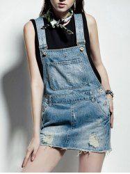 Vintage Pocket Design Ripped Denim Suspender Dress