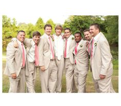Groomsmen wearing khaki suits and pink ties PERFECT!!!! #groomsmen #coraltie #khakisuits