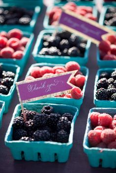 Blackberry and raspberry punnet wedding favours <3