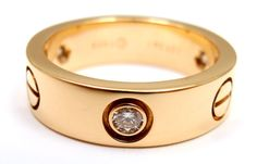 Authentic Cartier 18K Yellow Gold 3 Diamond Love Band Ring Size 6 Europe 52 | eBay - $2,000