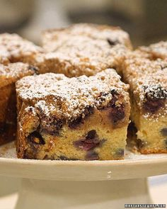 Make with Huckleberries and toss whichever in flour before adding to batter.  Make without berries and add cinnamon.  Blueberry Crumb Cake a la Martha.