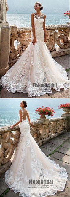 Charming Sweetheart Neckline Open Back Long Mermaid Lace Wedding Dress, Unique Wedding Dress, VB0694 #weddingdresses #weddingplanning #laceweddingdresses