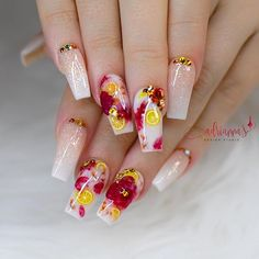 Summer Acrylic Nails, Best Acrylic Nails, Acrylic Nail Designs, Classy Nails, Stylish Nails, Trendy Nails, Dope Nails, Swag Nails, Fruit Nail Art
