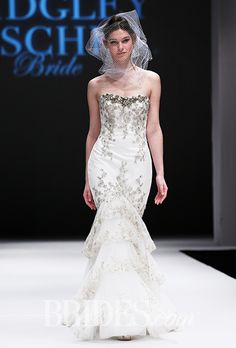 """Loren"" strapless mermaid wedding dress with a sweetheart neckline, lace trim and beaded embellishment, Badgley Mischka"