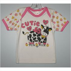 Infant girls cutie cow, flowers & hearts shirt, Size-18 Months