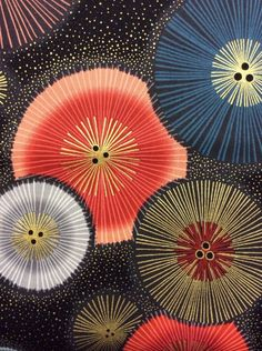 Gold Blue Red Sparkly Color Bursts Cotton Fabric Quilt Fabric RK18
