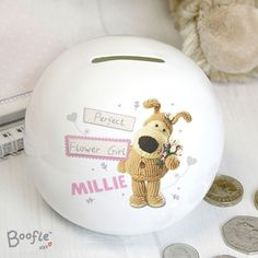 Our Personalised Boofle Wedding Girls Money Box is a great way of thanking a perfect flower girl or bridesmaid.