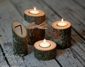 Rustic Wedding Log Table Numbers and Three Candle Center Pieces
