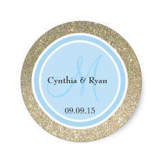 Gold Glitter and Sky Blue Wedding Monogram Label Classic Round Sticker