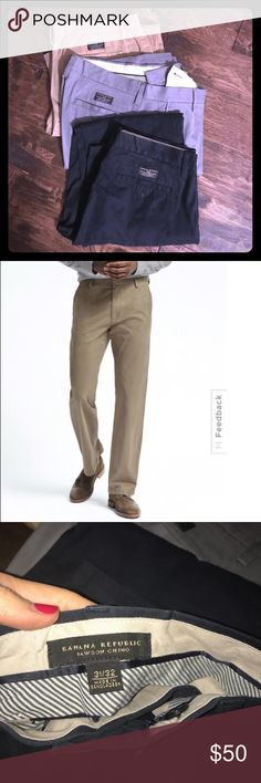 Lot of 3 men's Banana rep chinos Originally cost $70/piece. All three are in near perfect condition. No visible, stains, tears, zipper or buttons issues. Husband really only wore the blue ones a handful of times but you can not tell. I can upload more pics if anyone interested! Banana Republic Pants Chinos & Khakis