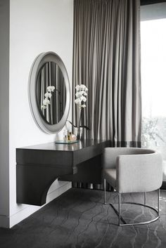 Alluring Dressing Table Helps Your Dressing Up: Modern Bedroom With Contemporary Curtains And Floor To Ceiling Window Plus Round Mirror And Dressing Table With Upholstered Armchair Also Contemporary Rug ~ parsegallery.com Decorating Inspiration